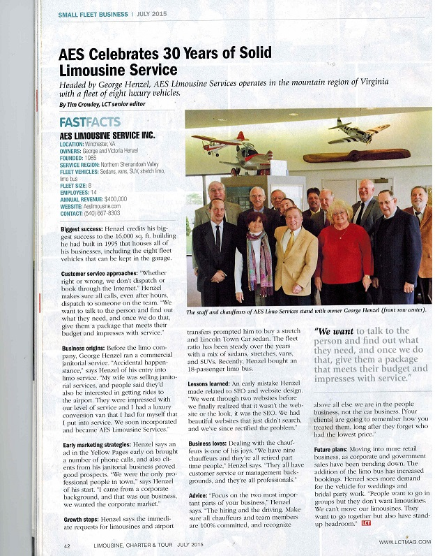Limousine, Charter & Tour Magazine Article